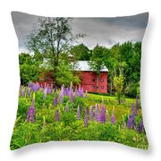 Lupines And The Red Barn Throw Pillow