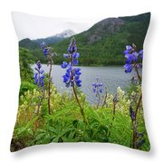 Lupines And Water Throw Pillow