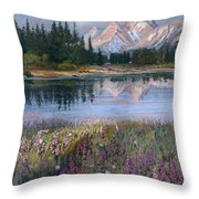 Lupines At Pilgrim Creek Throw Pillow