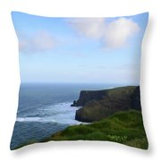 Lush Green Grass Along The Top Of The Cliffs Of Moher Throw Pillow