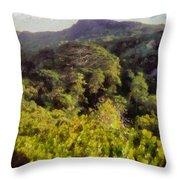 Lush Greenery While Trekking Throw Pillow