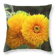 Lush Sunflowers Throw Pillow