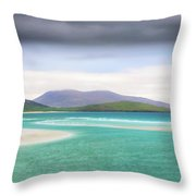 Luskentyre Beach On The Scottish Isle Of Harris .  Throw Pillow