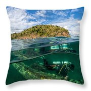 Lusong Gunboat Just Below Surface Throw Pillow