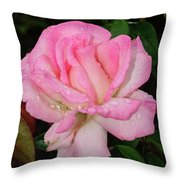 Lustrous Pink Rose Throw Pillow