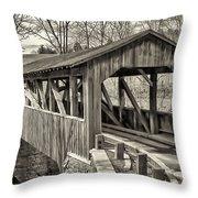 Luther Mills Bridge In Monochrome Throw Pillow