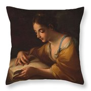Luti, Benedetto Attributed To Saint Catherine Second Half Of The Xvii - Primer Cuarto Del Siglo Xv Throw Pillow