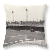 Luton Town - Kenilworth Road - Bobbers Stand West Side 1 - Bw - August 1969 Throw Pillow