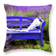 Luvin Lavender Farm Bench Throw Pillow