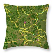 Luxembourg Green Traffic Map, Abstract Europe Map Throw Pillow