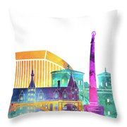 Luxembourg Landmarks Watercolor Poster Throw Pillow