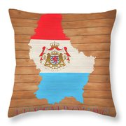 Luxembourg Rustic Map On Wood Throw Pillow