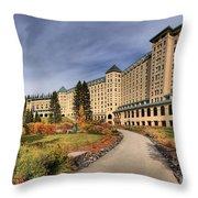 Luxurious Chateau Lake Louise Throw Pillow