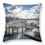 Luxury Boats Moored At Naples Island, Long Beach, Ca Throw Pillow