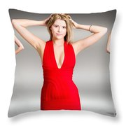 Luxury Female Fashion Model In Classy Red Dress Throw Pillow