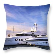 Luxury Yachts Throw Pillow