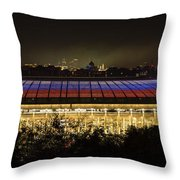 Luzhniki Stadium At Summer Night Against The Background Of The Ministry Of Foreign Affairs, The Cath Throw Pillow