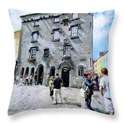 Lynches Castle Galway City Throw Pillow
