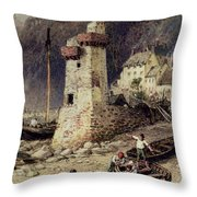 Lynmouth In Devonshire Throw Pillow by Myles Birket Foster