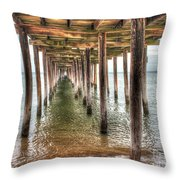 Lynnhaven Fishing Pier, Pillars To The Sea Throw Pillow