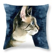 Lynx Point Cat Portrait Throw Pillow