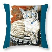 Lynx Point Siamese Cat Painting Throw Pillow