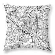 Lyon France Light Map Throw Pillow
