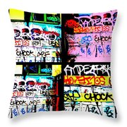 Lyon Graffiti Walls Throw Pillow