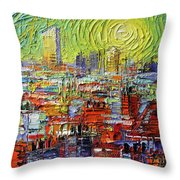 Lyon Sunrise Glow - Modern Impressionist Stylized Cityscape Throw Pillow