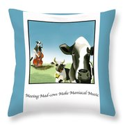 Mooing Mad Cows Throw Pillow