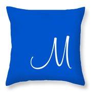 M In White Simple Script Throw Pillow