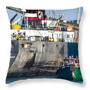 M/v Algoway And Tug Massachusetts Throw Pillow