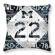 M22 Michigan Highway Symbol Recycled Vintage Great Lakes State License Plate Logo Art Throw Pillow by Design Turnpike