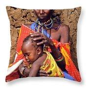 Maasai Grandmother And Child Throw Pillow