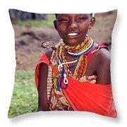 Maasai Teenager Throw Pillow