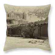 Mabel's Courtyard As Antique Print Throw Pillow
