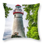 Mablehead Light From The Rocks Throw Pillow