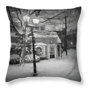 Mablehead Market Square Snowstorm Old Town Evening Black And White Painterly Throw Pillow