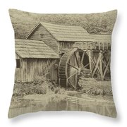 Mabry Mill In Sepia Throw Pillow by Ola Allen
