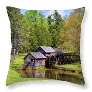 Mabry Mill In The Springtime On The Blue Ridge Parkway  Throw Pillow by Kerri Farley