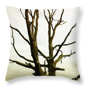 Macabre Leafless Tree Throw Pillow