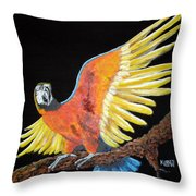 Macaw - Wingin' It Throw Pillow