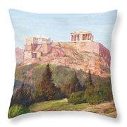 Macco, Georg 1863 Aachen - 1933   The Acropolis Of Athens. Throw Pillow