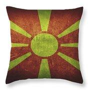 Macedonia Distressed Flag Dehner Throw Pillow
