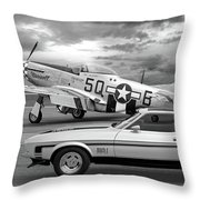 Mach 1 Mustang With P51 In Black And White Throw Pillow