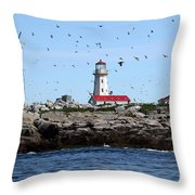 Machias Seal Island Lighthouse Throw Pillow
