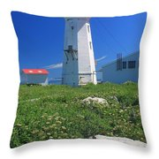Machias Seal Island Lighthouse Puffins Throw Pillow