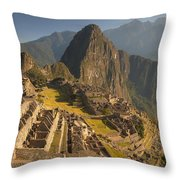 Machu Picchu At Dawn Near Cuzco Peru Throw Pillow