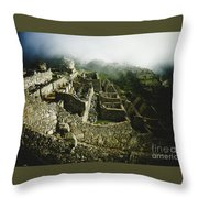 Machu Picchu In The Fog Throw Pillow