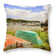 Mackerel Cove Dory And Dinghy   Throw Pillow